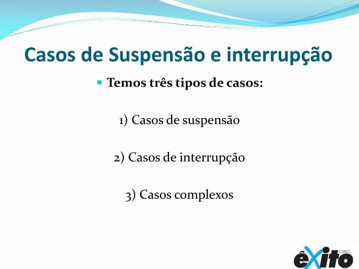 Casos de Suspensão e interrupção