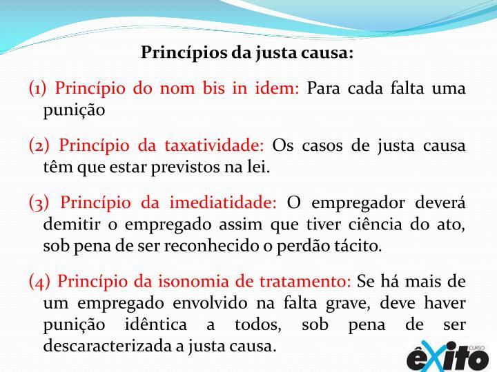 Princípios da justa causa: