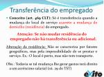 transfer ncia do empregado