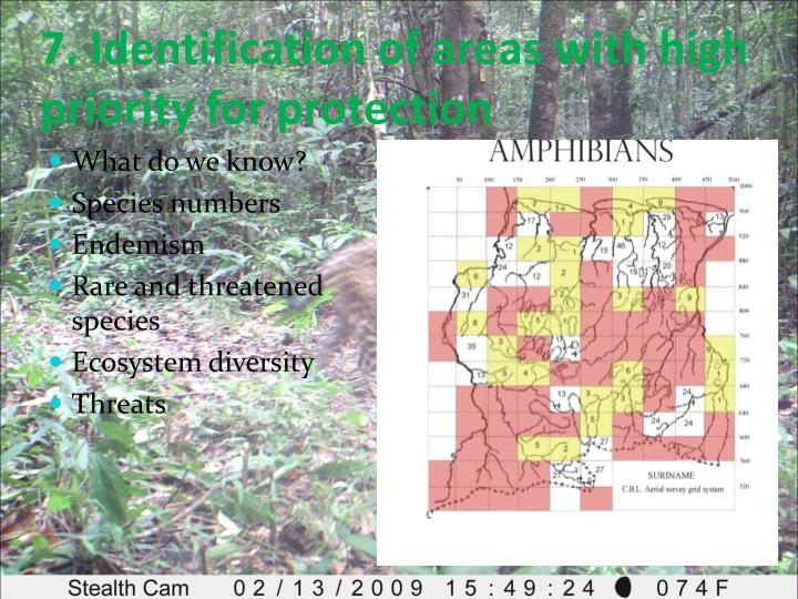 7. Identification of areas with high priority for protection