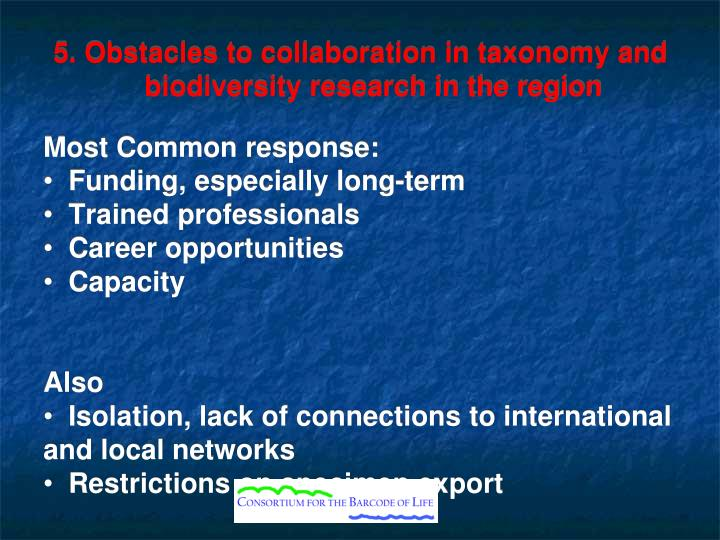 5. Obstacles to collaboration in taxonomy and biodiversity research in the region