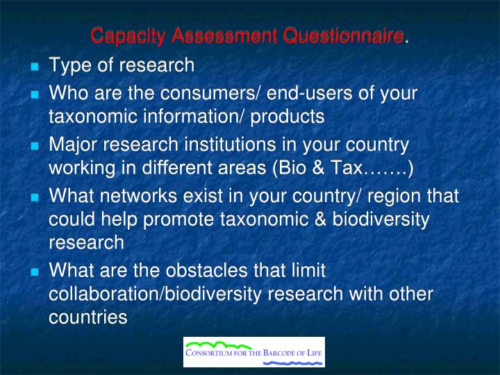 Capacity assessment questionnaire