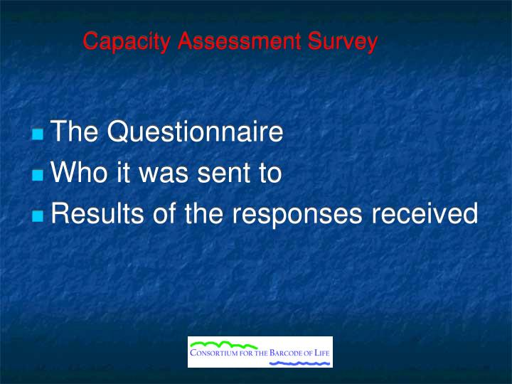 Capacity Assessment Survey