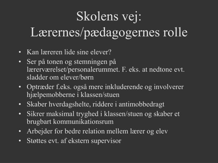Skolens vej: Lærernes/pædagogernes rolle