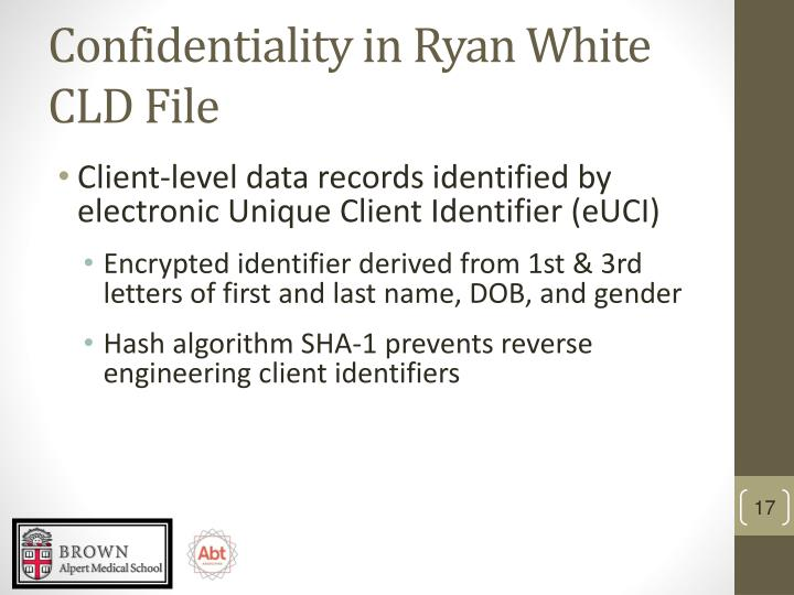 Confidentiality in Ryan White CLD File