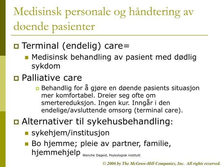 Medisinsk personale og håndtering av døende pasienter