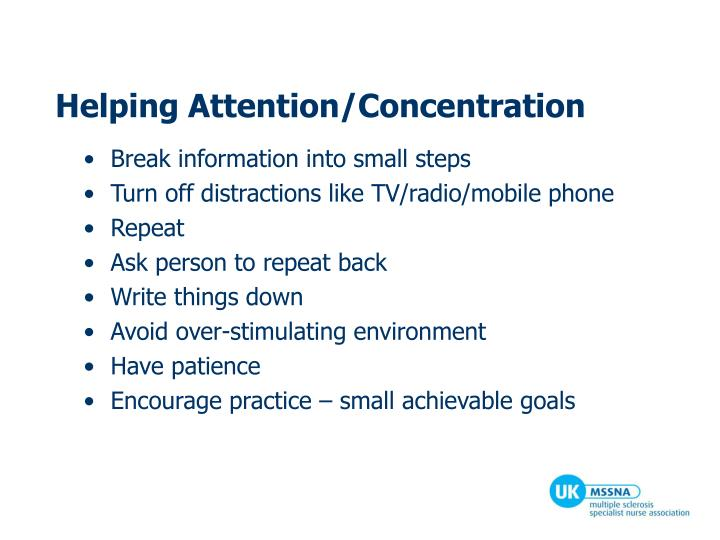 Helping Attention/Concentration