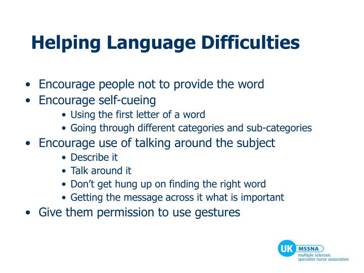 Helping Language Difficulties