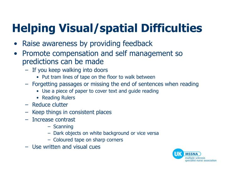 Helping Visual/spatial Difficulties