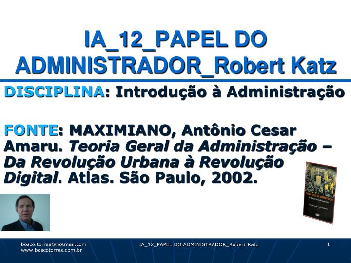 Ia 12 papel do administrador robert katz