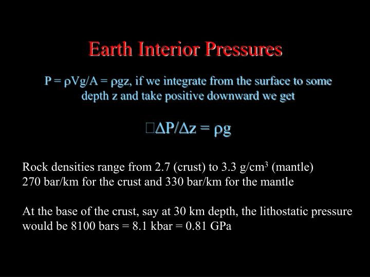 Earth Interior Pressures