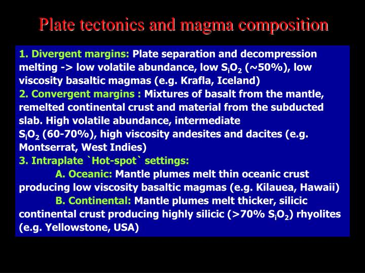 Plate tectonics and magma composition