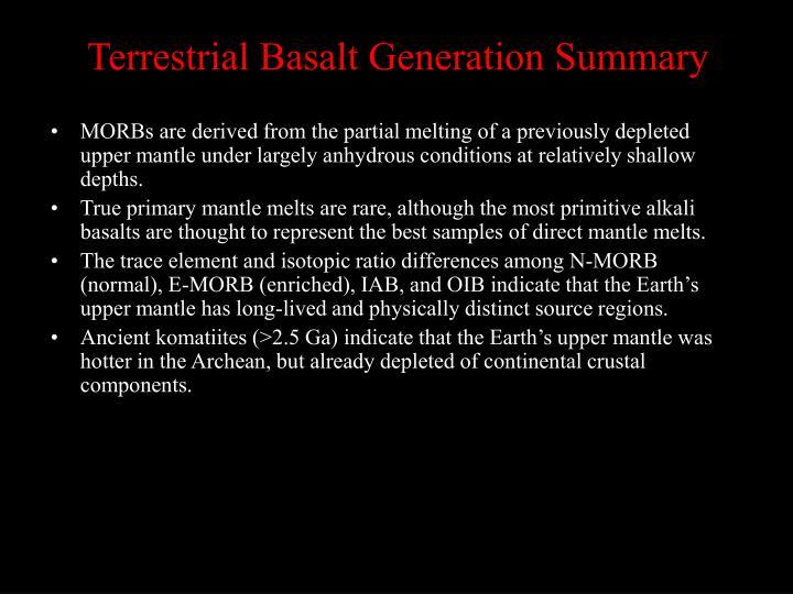 Terrestrial Basalt Generation Summary