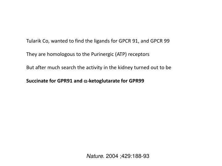 Tularik Co, wanted to find the ligands for GPCR 91, and GPCR 99