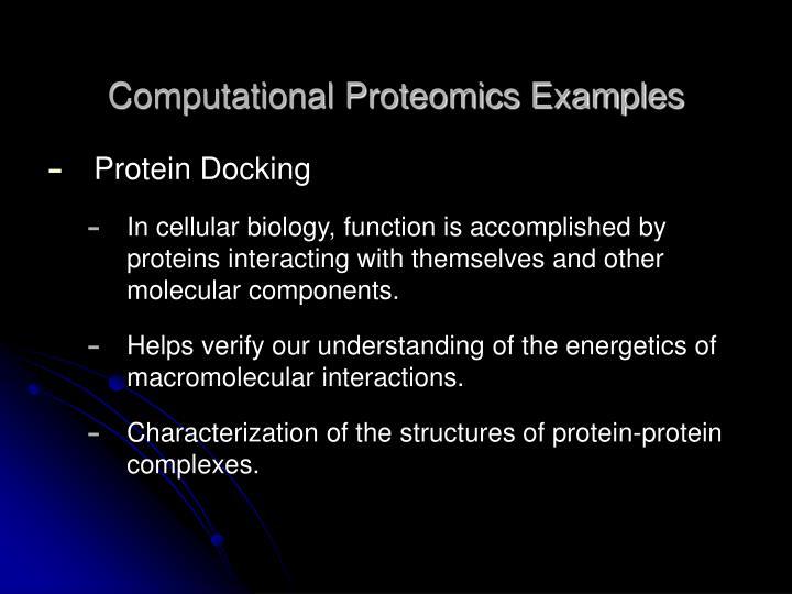 Computational Proteomics Examples