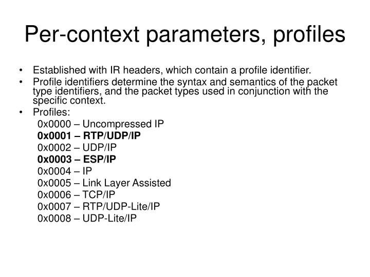 Per-context parameters, profiles