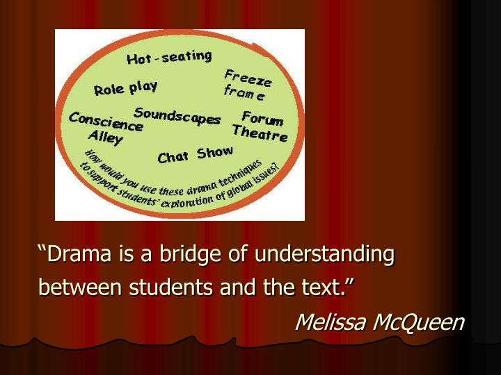 """Drama is a bridge of understanding between students and the text."""