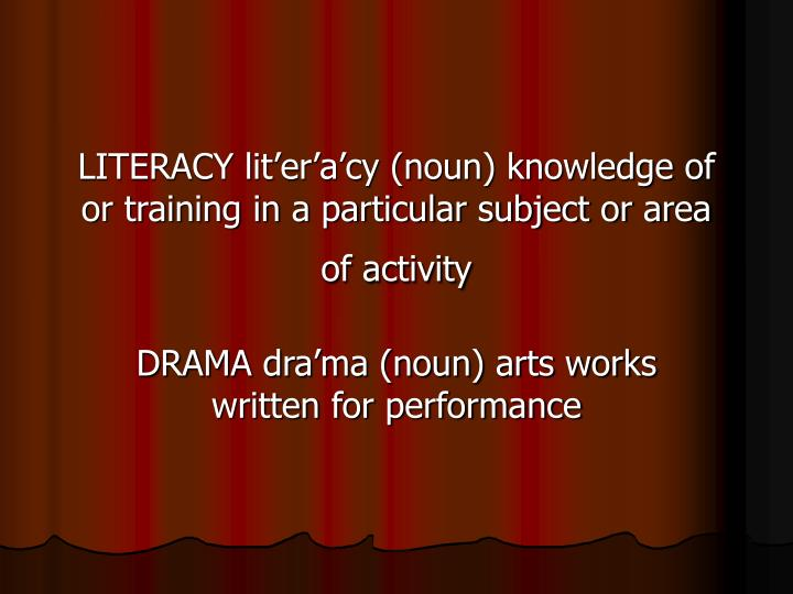LITERACY lit'er'a'cy (noun) knowledge of or training in a particular subject or area of activity