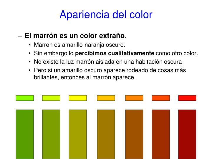 Apariencia del color