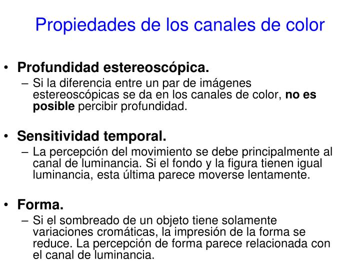 Propiedades de los canales de color