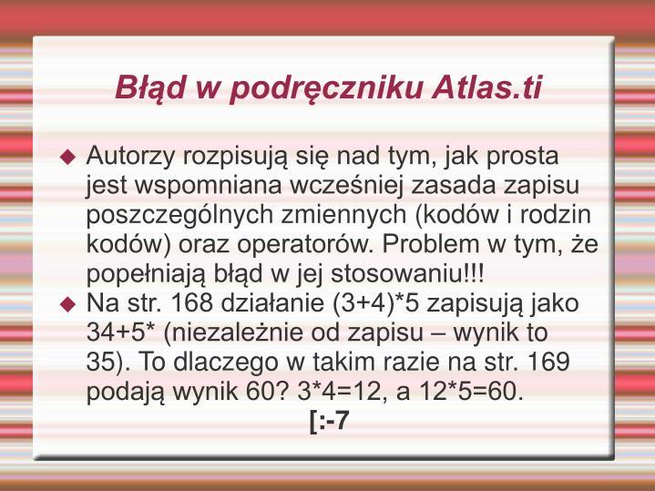 Błąd w podręczniku Atlas.ti