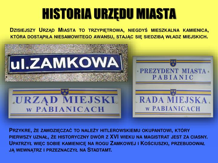 Historia urzędu miasta