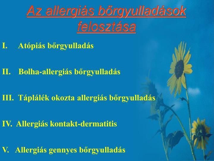 Az allergiás bőrgyulladások felosztása