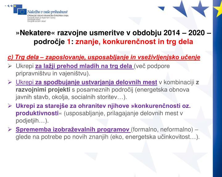 »Nekatere« razvojne usmeritve v obdobju 2014 – 2020 –