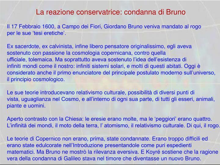 La reazione conservatrice: condanna di Bruno