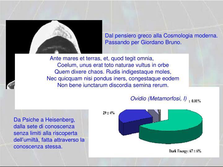 Dal pensiero greco alla Cosmologia moderna.