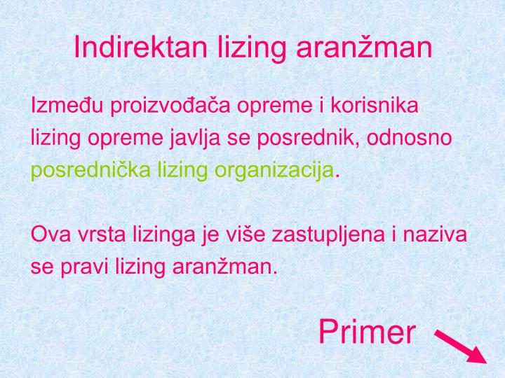 Indirektan lizing aranžman