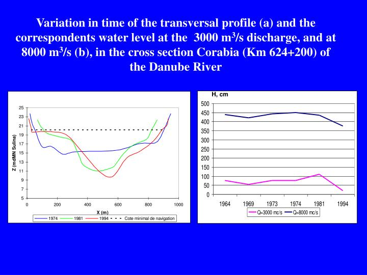 Variation in time of the transversal profile (a) and the correspondents water level at the  3000 m
