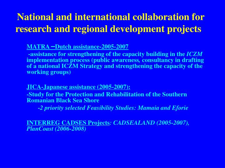 National and international collaboration for