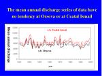 the mean annual discharge series of data have no tendency at orsova or at ceatal ismail