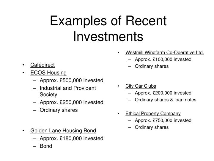 Examples of Recent Investments