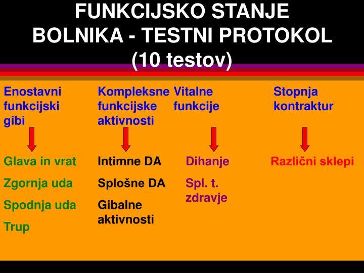 FUNKCIJSKO STANJE BOLNIKA - TESTNI PROTOKOL