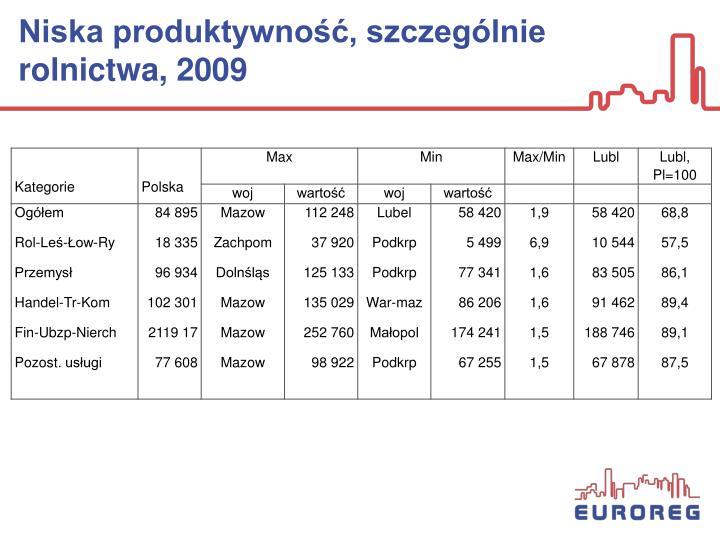Niska produktywność, szczególnie rolnictwa, 2009
