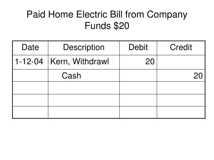 Paid Home Electric Bill from Company Funds $20