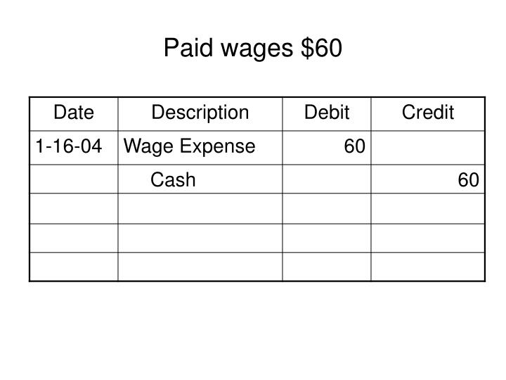 Paid wages $60