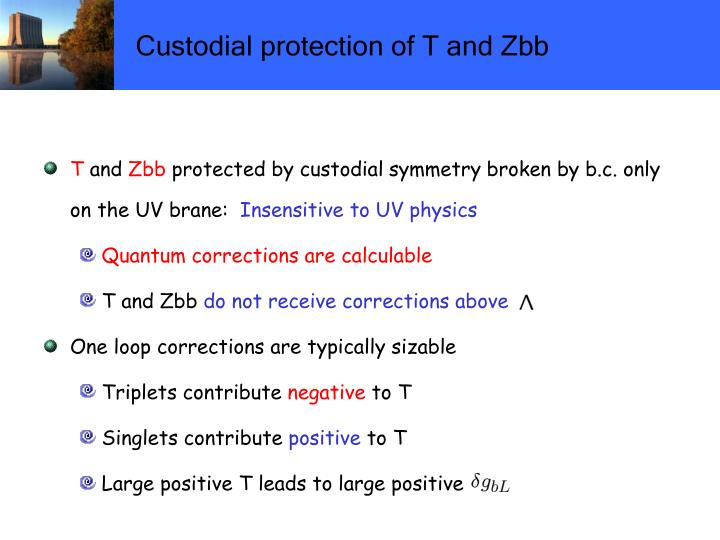 Custodial protection of T and Zbb