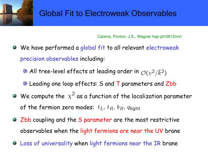 Global Fit to Electroweak Observables
