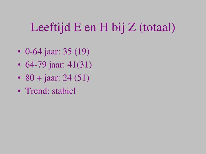 Leeftijd E en H bij Z (totaal)