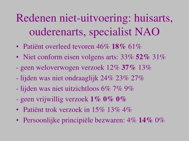 Redenen niet-uitvoering: huisarts, ouderenarts, specialist NAO