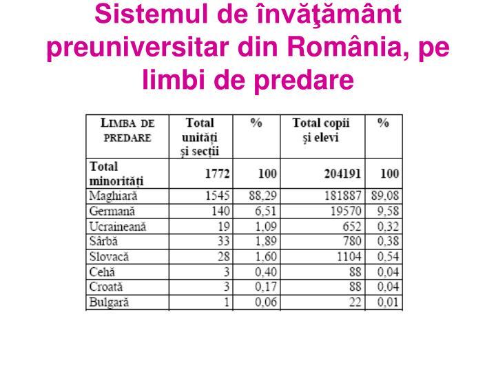 Sistemul de învăţământ preuniversitar din România, pe limbi de predare
