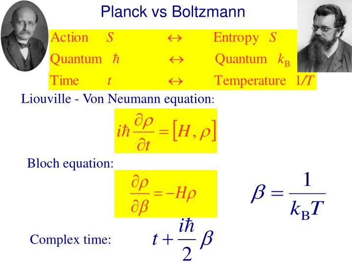 Planck vs Boltzmann