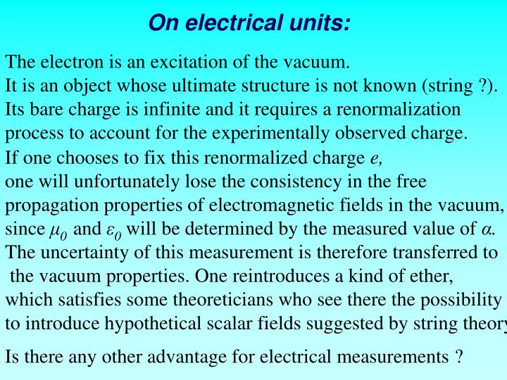 On electrical units: