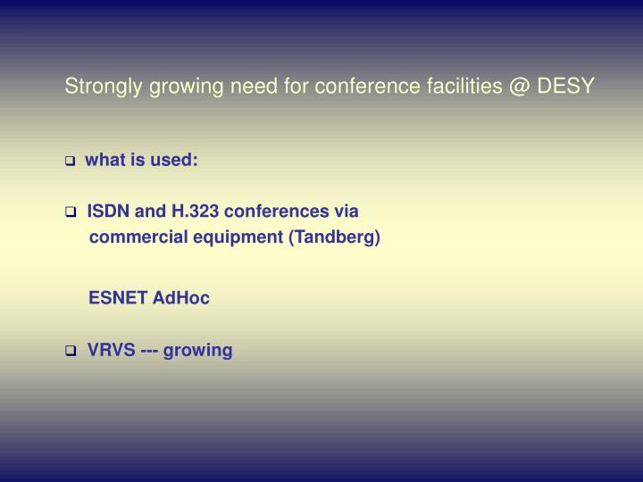 Strongly growing need for conference facilities @ DESY