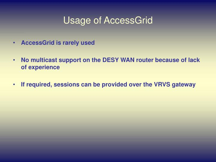 Usage of AccessGrid