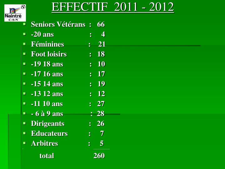 EFFECTIF  2011 - 2012