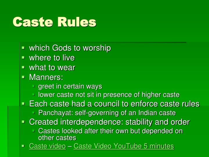 Caste Rules